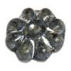 Glass Bead Flower 12mm Blue/Steel Grey - Strung